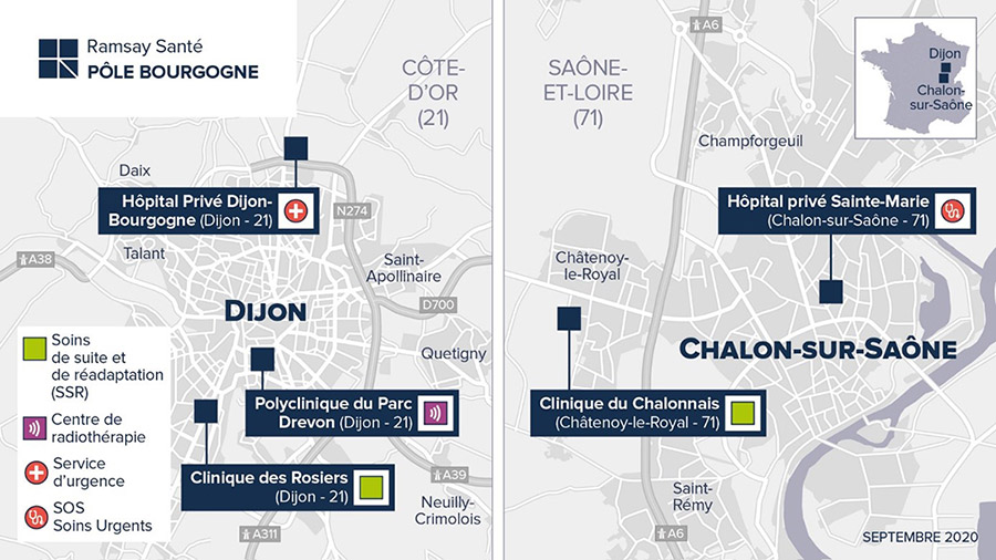 Carte du pôle Bourgogne Ramsay Santé
